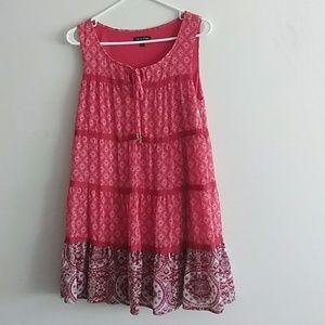 AS U Wish Sz L Tall Red Floral Baby Doll Dress